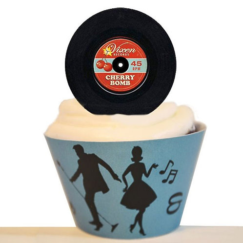 50s Record Toppers Edible
