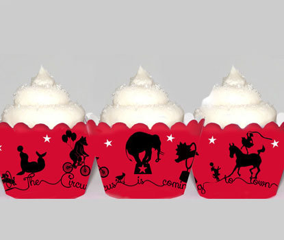 Vintage Circus Cupcake Wrappers