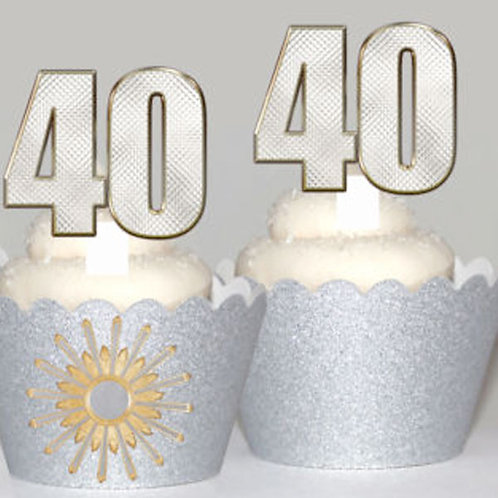 Silver Effect 40th Birthday Toppers