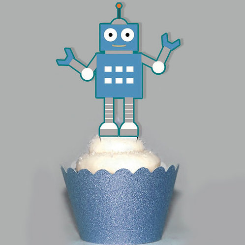 Retro Robot Party Toppers
