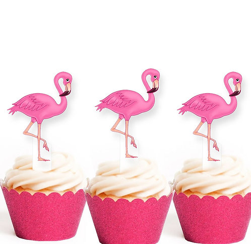 Pretty Pink Flamingo Edible Toppers
