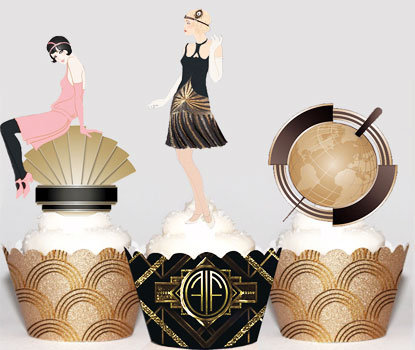 Art Deco Pink Flapper Girl Toppers