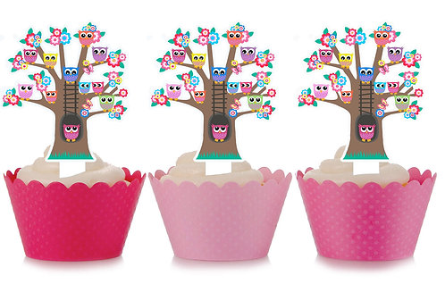 Pretty Owls in Tree Party Toppers