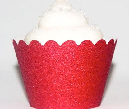 Red Glitter Cupcake Wraps