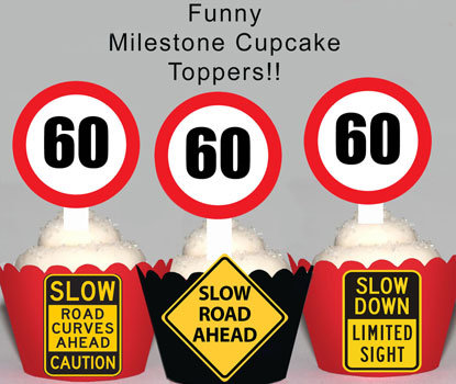 60th Road Sign Birthday Toppers