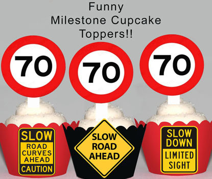 70th Road Sign Birthday Toppers