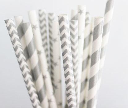 Silver Deco Straws - Pk 25