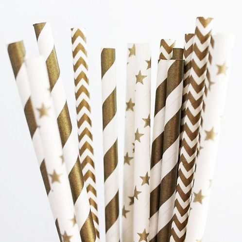 Art Deco Gold Straws