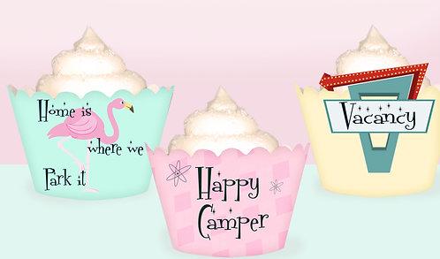 Vintage Caravan Cupcake Wrappers