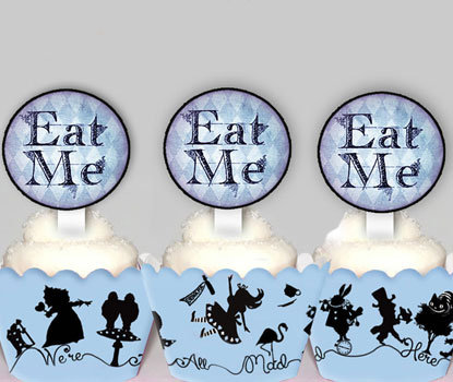 Alice In Wonderland Eat Me  Party  Toppers