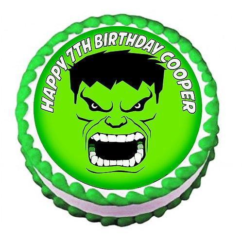Hulk FACE Superhero Round Icing Sheet