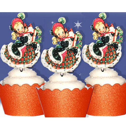 Girl with Gift Xmas Toppers