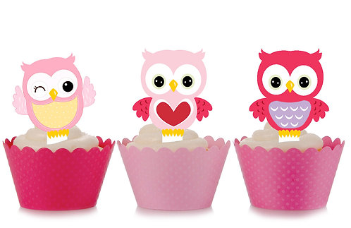 Pink Owls Party Toppers