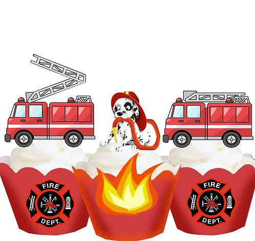 Fireman Fire Truck Party Toppers
