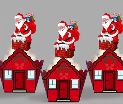 Santa Down The Chimney Party Toppers