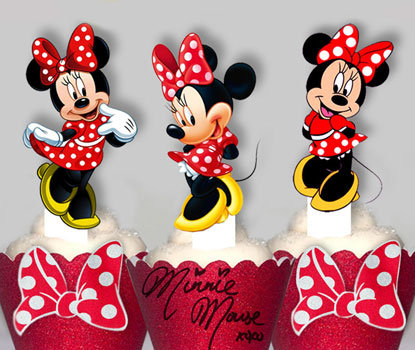 Red Minnie Mouse Toppers