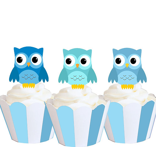 Blue Owls Party Toppers
