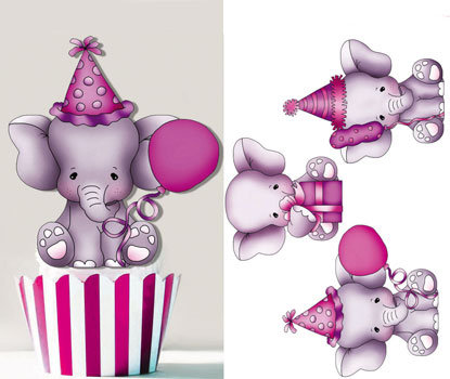 Baby Girl Elephant Toppers