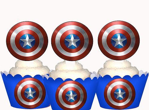 Superhero Captain America Emblem Toppers