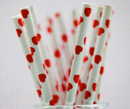 Vintage Heart Party Straw