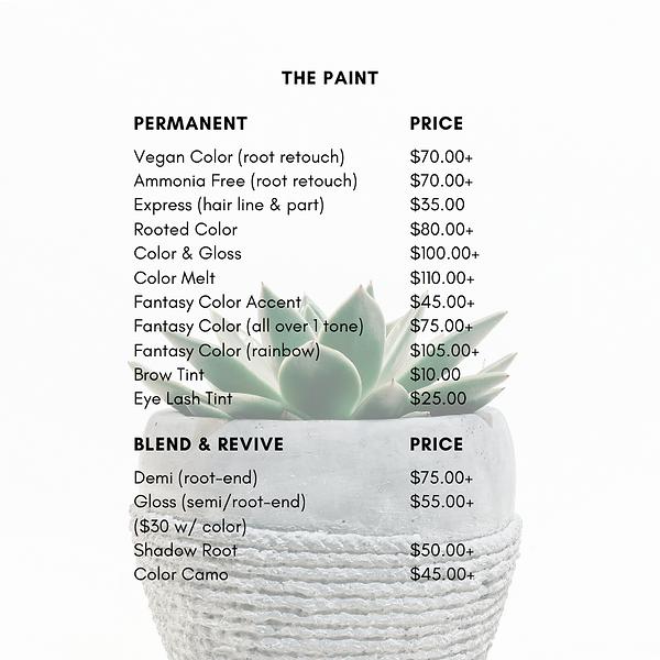 Salon Price List PNG (The Paint:Color).p