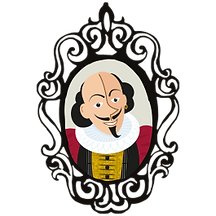 Illustration, cartoon of Will Shakespeare