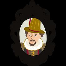 cartoon of Philip Henslowe, propriieor of The Rose Theatre