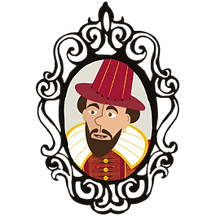 Illustration, cartoon of Richard Burbage, actor