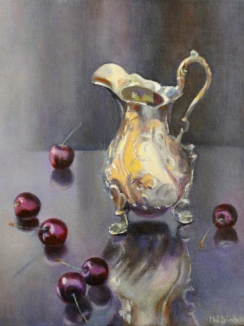 Silver Jug with Cherries by Margaret Dinkeldein