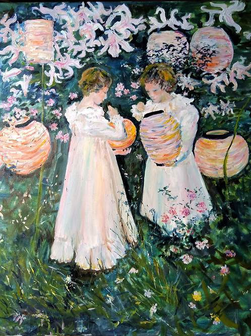 Girls with Lanterns by Suzanne Flowers