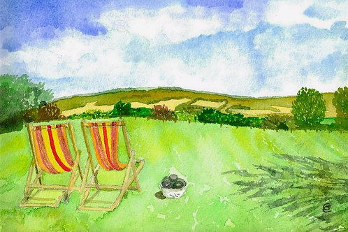 View of the South Downs from Monk's House, Rodmell by Gunda Cannon