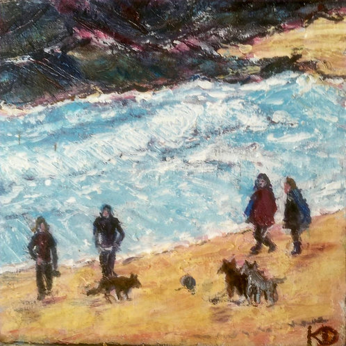 Cornish Beach with Dog Walkers by Kathy Drake