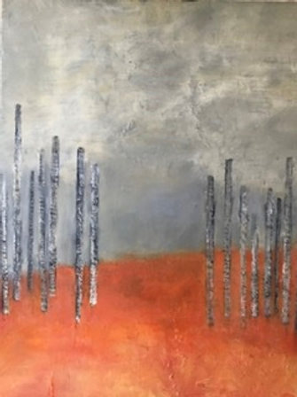 Trees with Grey and Pink by Frances Skittrall