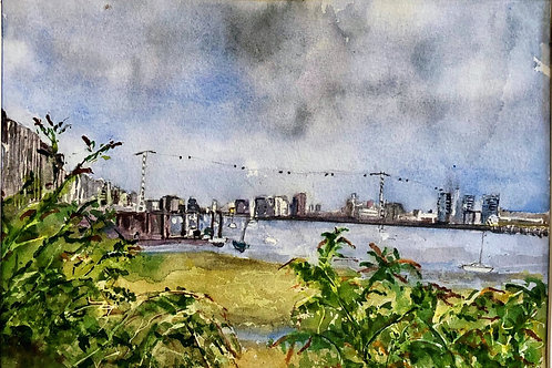View of Cable Car from North Greenwich by Edythe Peters