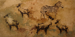Four Antilopes Eland and One Zebra