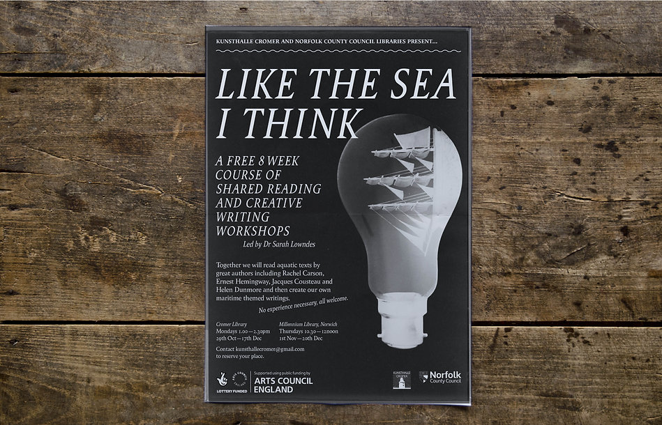 Like The Sea I Think – Kunsthalle Cromer Sarah Lowndes Norfolk County Council Arts Council England Bespoke book design & typography