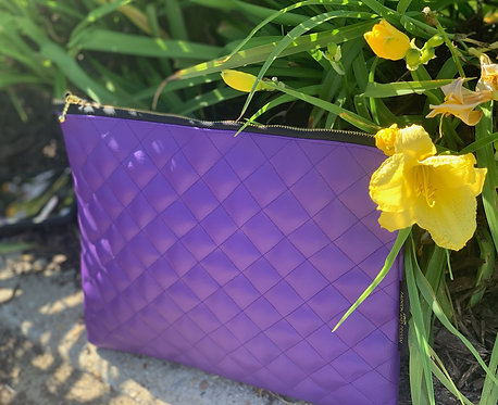 Purple quilted clutch