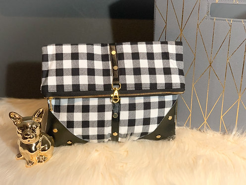 """Glitz and Glam"" plaid clutch"