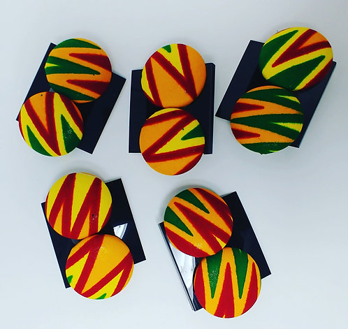 Yellow/Green/Red Color block earrings
