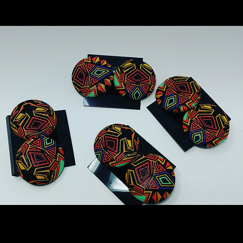 Black panther large button earrings
