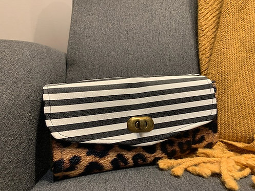 Leopard mixed with stripes wallet