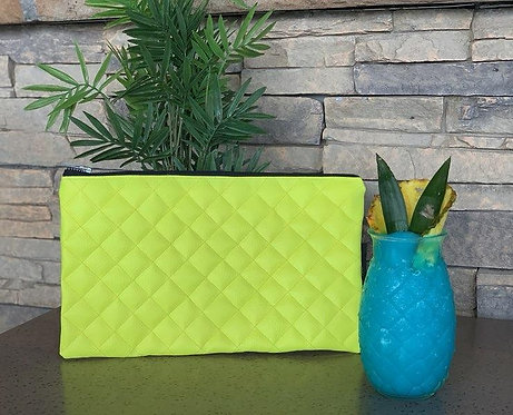 """Lime"" quilted clutch"