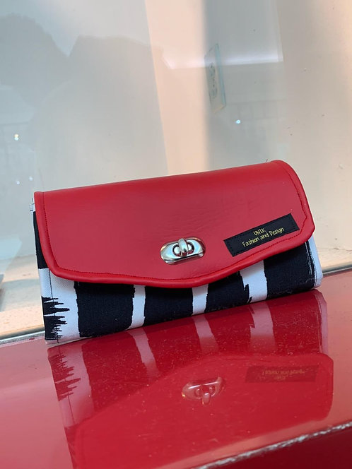 Black striped with red wallet