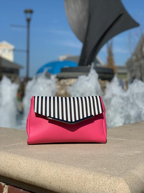Pink stripped curvy clutch