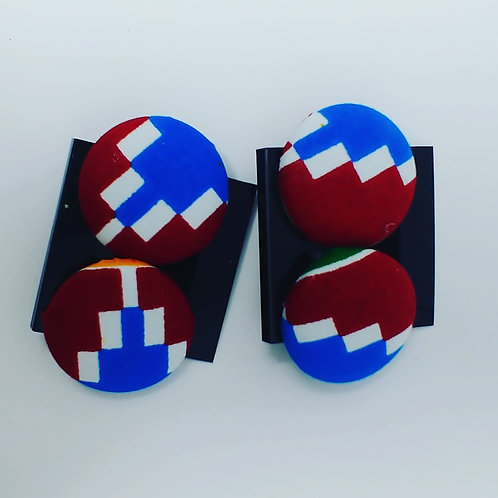 Red/Blue color block large earrings