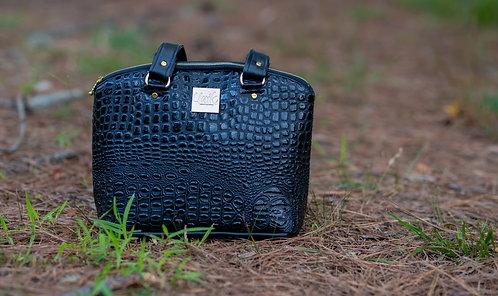 Black snakeskin shoulder bag