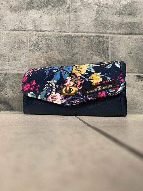 Navy blue flower wallet