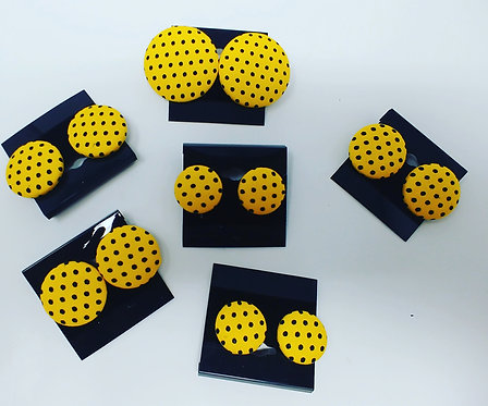 Yellow and Black Polka dot button earrings