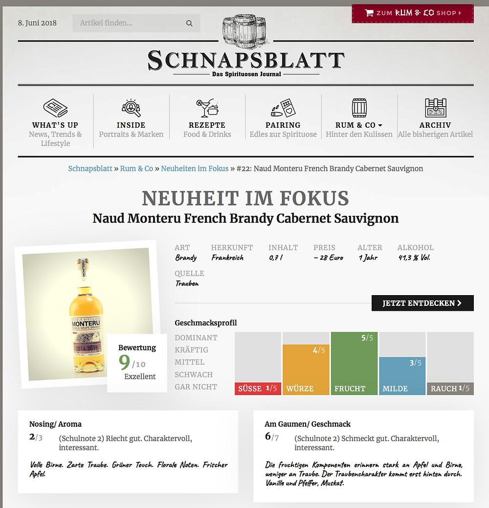 Schnapsblatt French Brandy Monteru of Cabernet