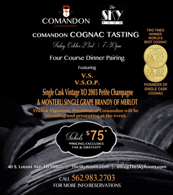 COGNAC PAIRING DINNER WITH COMANDON AT THE SKYROOM IN CALIFORNIA